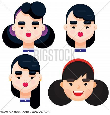 Set Of Four Different Beautiful Young Girl With Different Hair Style. Flat Design Vector Illustratio