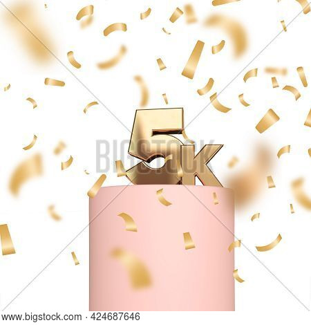 5k Social Media Followers Or Subscribers Celebration Background. 3d Rendering