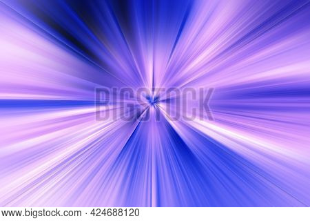 Abstract Surface Of Radial Blur Zoom  In Lilac And White Tones. Spectacular Lilac Background With Ra