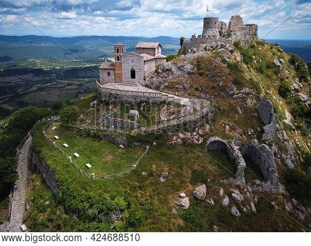 Aerial View Of Rocca Frangipani In Tolfa Village In Lazio In Italy