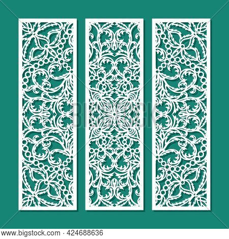 Set Of Decorative Panels With A Carved Pattern. Openwork Floral Ornament, Leaves, Oriental Motive. T