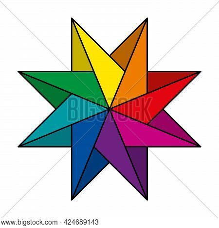 Rainbow Colored And Pinwheel Shaped Eight-pointed Star. Geometric Figure, That Create The Impression
