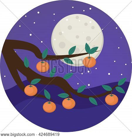 Persimmons On Tree Branch - Several Bright Orange Persimmons Hanging From Tree Branch. Happy Mid Aut