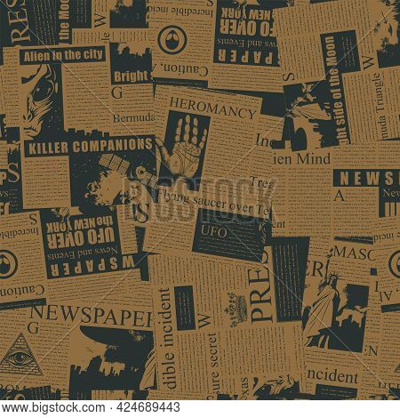 Vector Seamless Pattern With A Chaotic Collage Of Newspaper Clippings. Monochrome Background With Un