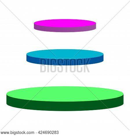 Vector Design Abstract Minimal Scene With Round Podium Shape On White Background. Product Presentati