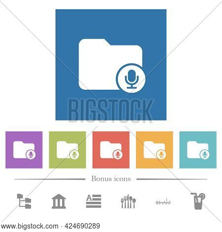 Records Directory Flat White Icons In Square Backgrounds. 6 Bonus Icons Included.