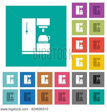 Coffee Machine Multi Colored Flat Icons On Plain Square Backgrounds. Included White And Darker Icon