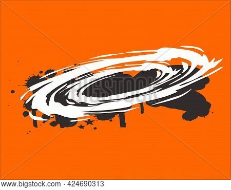 Whirlpool Design White Silhouette Isolated On Orange Background