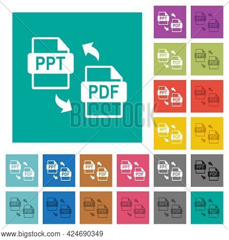 Ppt Pdf File Conversion Multi Colored Flat Icons On Plain Square Backgrounds. Included White And Dar