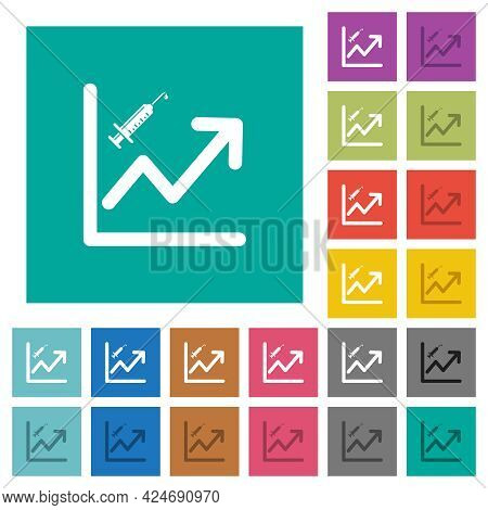 Rising Vaccination Graph Multi Colored Flat Icons On Plain Square Backgrounds. Included White And Da