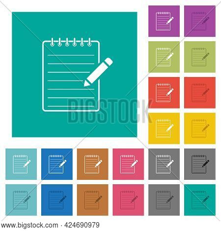 Spiral Notepad With Pencil Multi Colored Flat Icons On Plain Square Backgrounds. Included White And