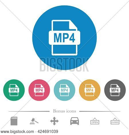 Mp4 File Format Flat White Icons On Round Color Backgrounds. 6 Bonus Icons Included.
