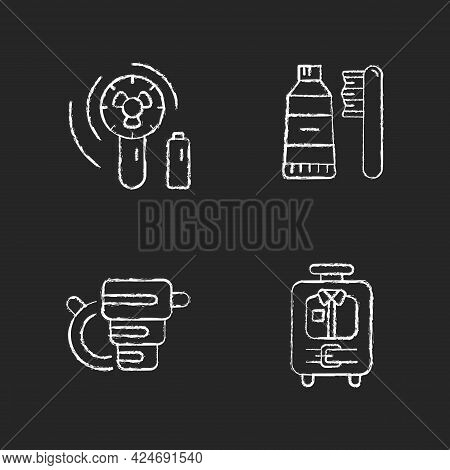 Things For Travelling Tourist Suitcase Chalk White Icons Set On Dark Background. Compact Fan. Toothb