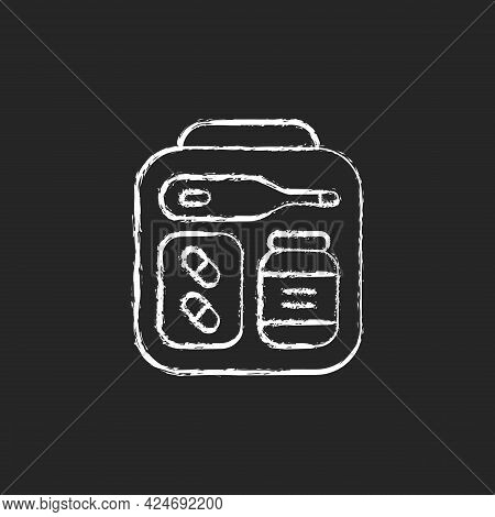 Mini First Aid Kit Chalk White Icon On Dark Background. Emergency Bag With Medication For Trip. Esse
