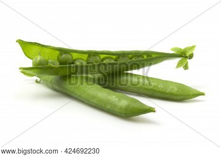 Isolated Green Pea Pods On A White Background. Beans In An Open Pod.