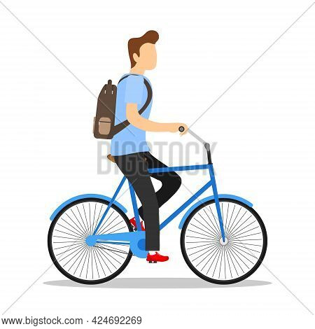 Cyclist. Man On A Bicycle Isolated On White Background. Vector Illustration. Vector.