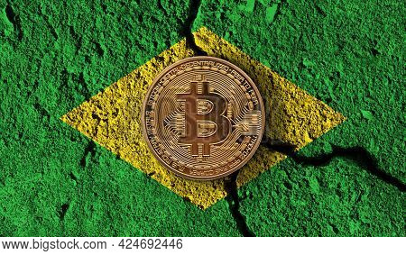 Bitcoin Crypto Currency Coin With Cracked Brazil Flag. Crypto Restrictions