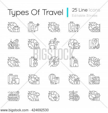Types Of Travel Linear Icons Set. No Destination Trip. Business And Recreation Journey. Tourism Indu