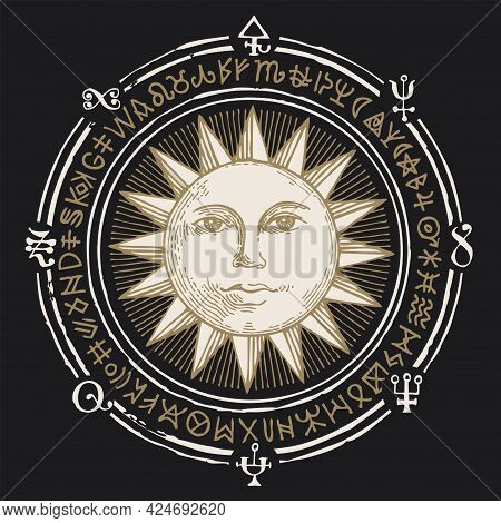 Hand-drawn Illustration With The Sun And Esoteric Symbols On A Black Background In Retro Style. Vect