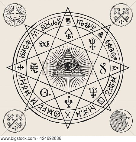 Vector Illustration With An All-seeing Eye Inside Octagonal Star, Masonic, Alchemical And Esoteric S