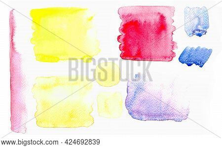 Watercolor Painting Set, Watercolor Spotted Stain, Water Color Stained On White Paper Texture