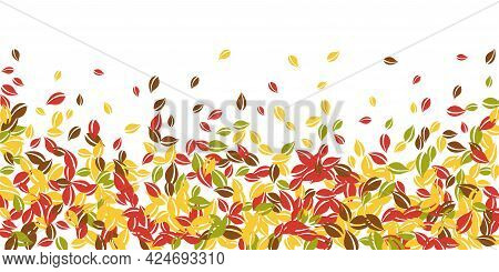 Falling Autumn Leaves. Red, Yellow, Green, Brown Chaotic Leaves Flying. Falling Rain Colorful Foliag