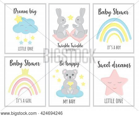 Cute Vector Hand Drawn New Born Card Collection. Set Of Cute Baby Shower Cards Including Clouds, Sta