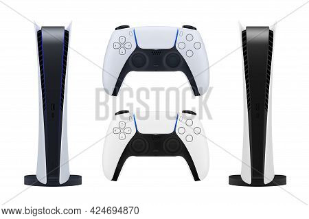 A New Generation Game Console In Vector On A White Background.modern Video Game Console Vector Illus