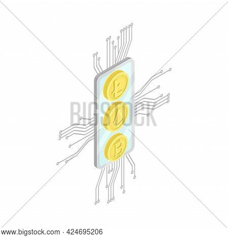 Blockchain Technology With Bitcoin Microcircuit Connection Isometric Vector Illustration
