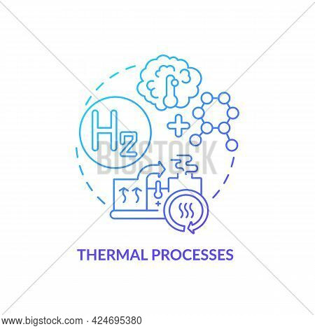 Thermal Processes Concept Icon. Hydrogen Fuel Production Abstract Idea Thin Line Illustration. Trans