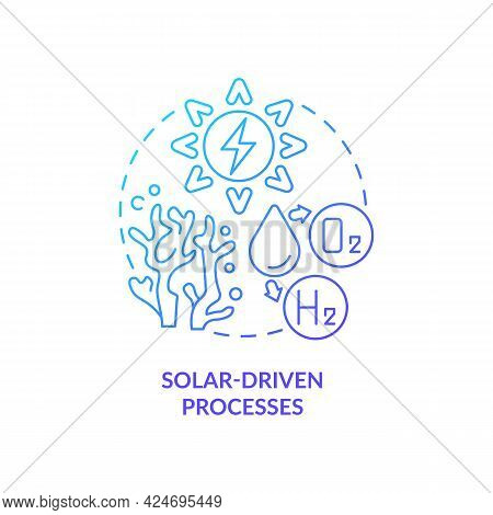 Solar Energy Concept Icon. H2 Fuel Production Method Abstract Idea Thin Line Illustration. Low Envir