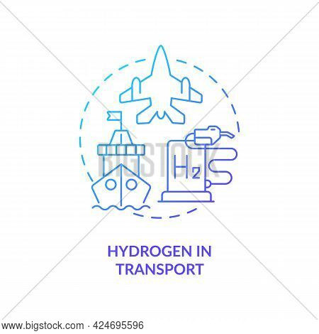Hydrogen In Transport Concept Icon. Use Renewable Energy Abstract Idea Thin Line Illustration. Air T
