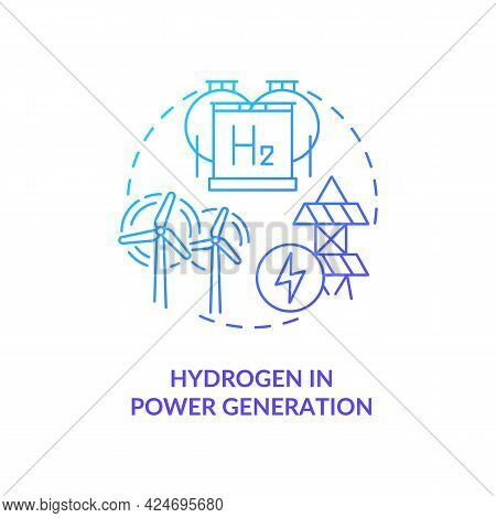 Hydrogen In Power Generation Concept Icon. Storing Renewable Energy Abstract Idea Thin Line Illustra
