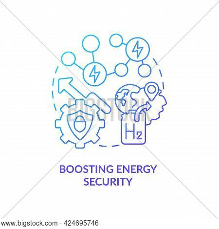 Boosting Energy Security Concept Icon. H2 Technology Benefit Abstract Idea Thin Line Illustration. I