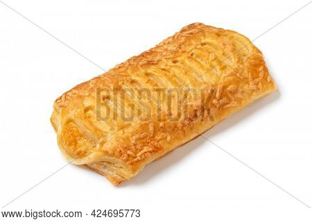 Single cheese puff pastry snack isolated on white background