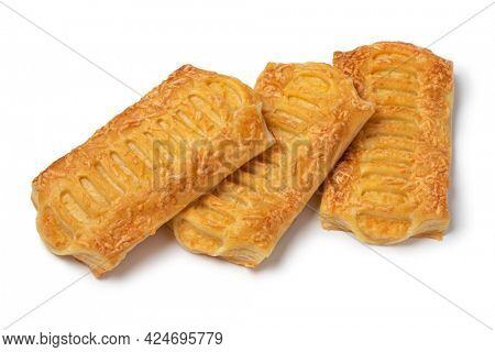 Three cheese puff pastry snacks isolated on white background
