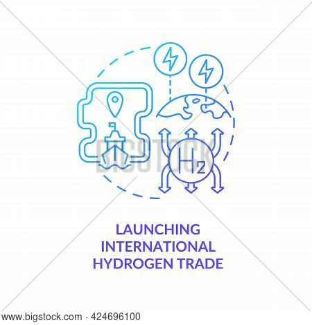 Launching International Hydrogen Trade Concept Icon. Hydrogen Promotion Tip Abstract Idea Thin Line