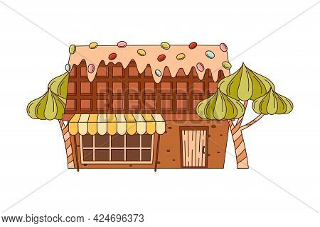 Sweet Candy House Of Cookie Dough With Sugar Glaze And Dragee As Shaped Baked Confectionery Vector I
