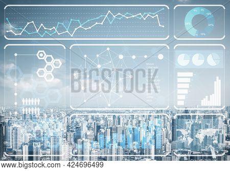 Stock Market Data On Background Of Modern Cityscape. Virtual Interface Of Online Trading Platform. D