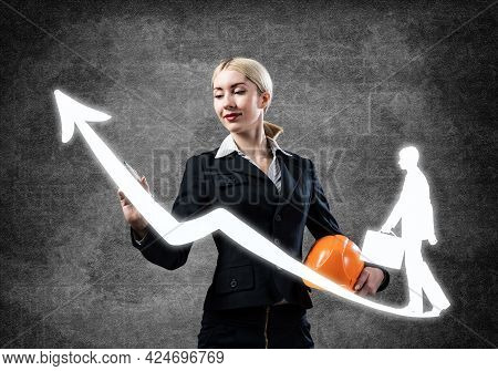 Business Lady Drawing Success Graph. Development Of Successful Professional Career. Hr Specialist In