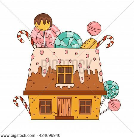 Sweet Candy House Of Cookie Dough With Sugar Glaze And Lollipops As Shaped Baked Confectionery Vecto
