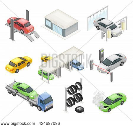 Car Or Motor Vehicle Service With Operation And Maintenance Procedure Isometric Vector Set