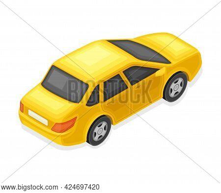 Yellow Sedan Or Saloon As Passenger Car And Urban Transport Isometric Vector Illustration