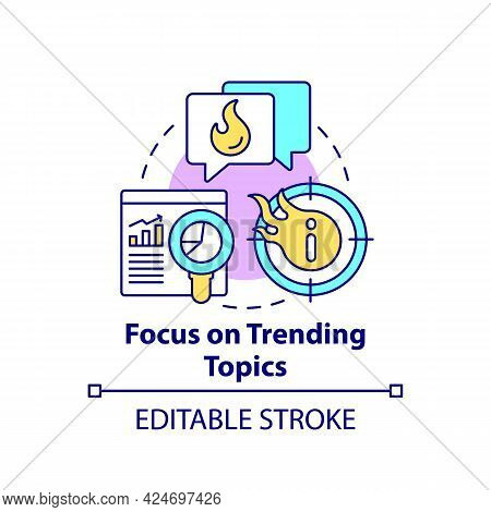 Focus On Trending Topics Concept Icon. Viral Content Creation Abstract Idea Thin Line Illustration.