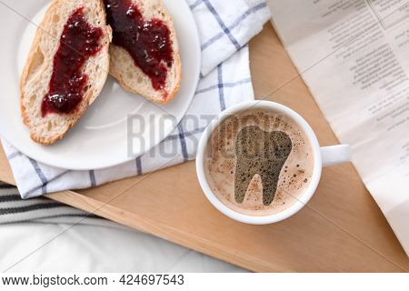 Coffee Causing Dental Problem. Cup Of Hot Drink On Wooden Tray, Flat Lay