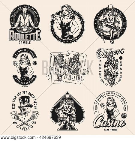 Gambling Vintage Designs Set With Casino Poker Game Skeleton Queen And King Playing Cards Monochrome