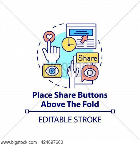 Place Share Buttons Above Fold Concept Icon. Viral Content Creation Tip Abstract Idea Thin Line Illu