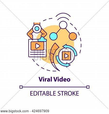 Viral Video Concept Icon. Top Viral Posts Type Abstract Idea Thin Line Illustration. Providing Audie