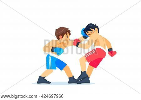 A Young Boxer Or Fighter Loses And Gets Hit In The Face By A Knockdown Or Knockout In The Boxing Rin