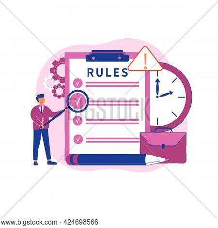 Vector Illustration Concept Of Office Rules. Legal Law, Corporate Regulation. Agreements And Princip